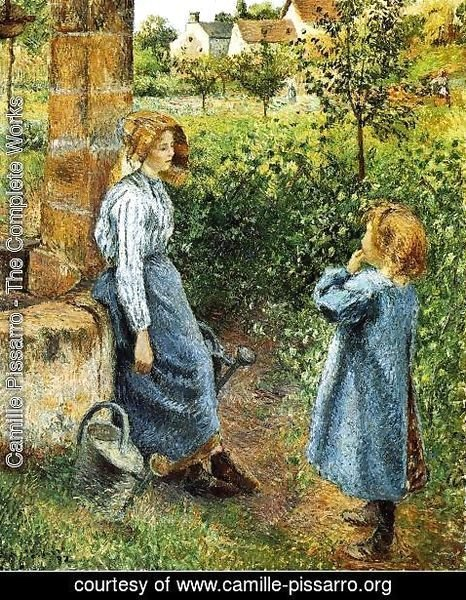 Camille Pissarro - Young Woman and Child at the Well