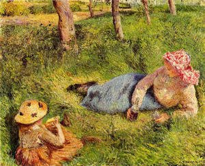 Camille Pissarro - The Snack, Child and Young peasant at Rest