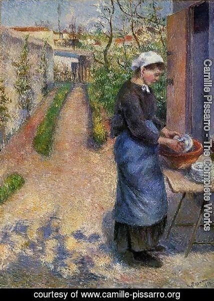 Camille Pissarro - Young Woman Washing Plates