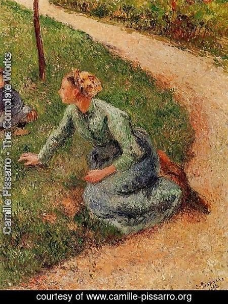 Camille Pissarro - Peasant Trimming the Lawn