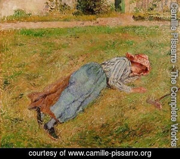 Camille Pissarro - Resting, Peasant Girl Lying on the Grass, Pontoise