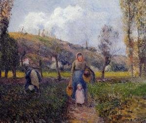 Camille Pissarro - Peasant Woman and Child Harvesting the Fields, Pontoise