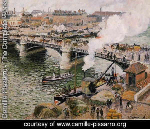 Camille Pissarro - The Pont Boieldieu, Rouen: Damp Weather