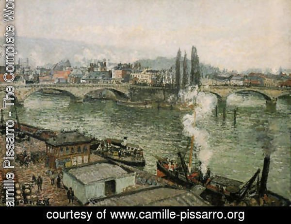Camille Pissarro - The Pont Corneille , Rouen: Grey Weather