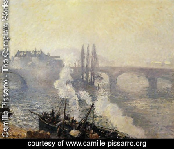 Camille Pissarro - The Pont Corneille , Rouen: Morning Mist