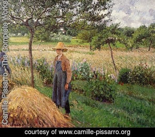 Camille Pissarro - Grey Weather, Morning with Figures, Egagny