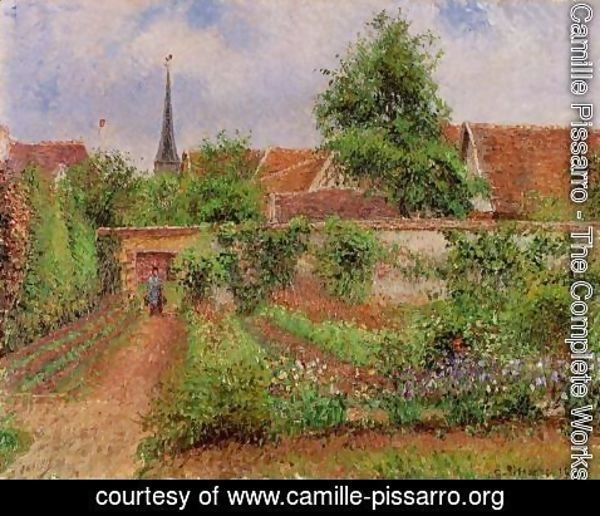 Camille Pissarro - Vegetable Garden in Eragny, Overcast Sky, Morning