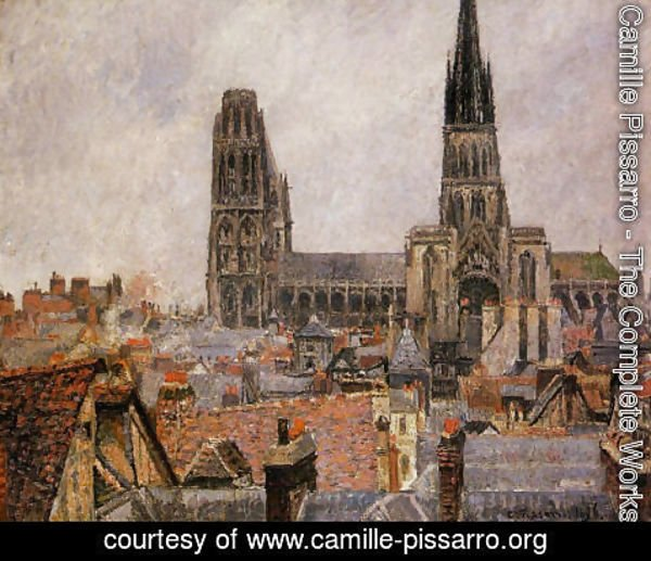 Camille Pissarro - The Roofs of Old Rouen: Grey Weather