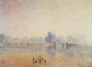 Camille Pissarro - The Serpentine, Hyde Park, Fog Effect