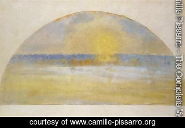 Camille Pissarro - Sunset with Mist, Eragny