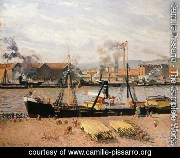 Camille Pissarro - The Port of Rouen: Unloading Wood