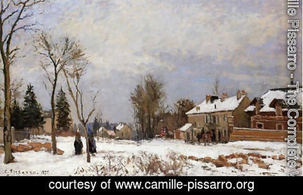 Camille Pissarro - The Road from Versailles to Saint-Germain, Louveciennes. Snow Effect