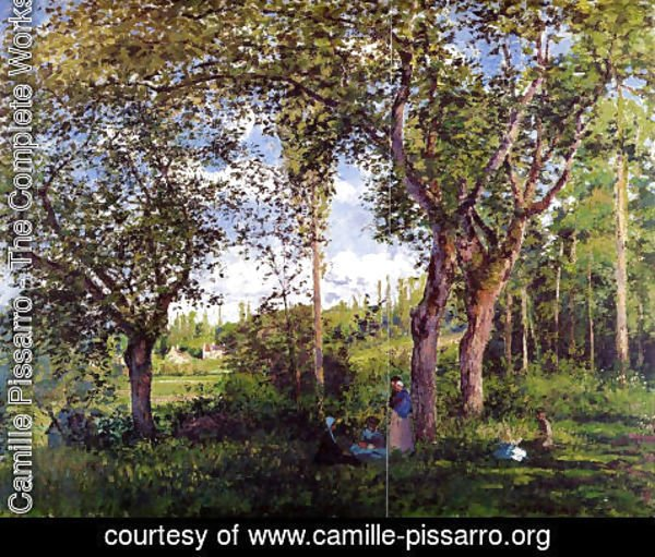 Camille Pissarro - Landscape with Strollers Relaxing under the Trees