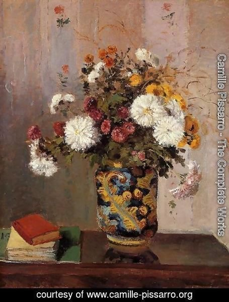 Camille Pissarro - Bouquet of Flowers: Chrysanthemums in a China Vase