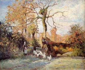 Camille Pissarro - The Goose Girl at Montfoucault, White Frost