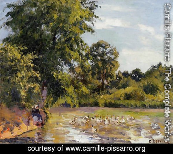 Camille Pissarro - Old Woman with Ducks at Montfoucault