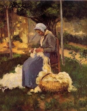 Peasant Woman Carding Wool