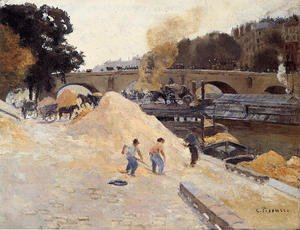 Camille Pissarro - The Banks of the Seine in Paris, Pont Marie, Quai d'Anjou