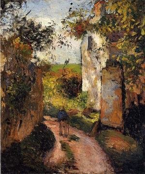 Camille Pissarro - A Peasant in the Lane at l'Hermitage, Pontoise