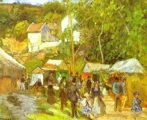 Camille Pissarro - A Fair at l'Hermitage near Pontoise