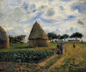 Camille Pissarro - Peasants and Hay Stacks