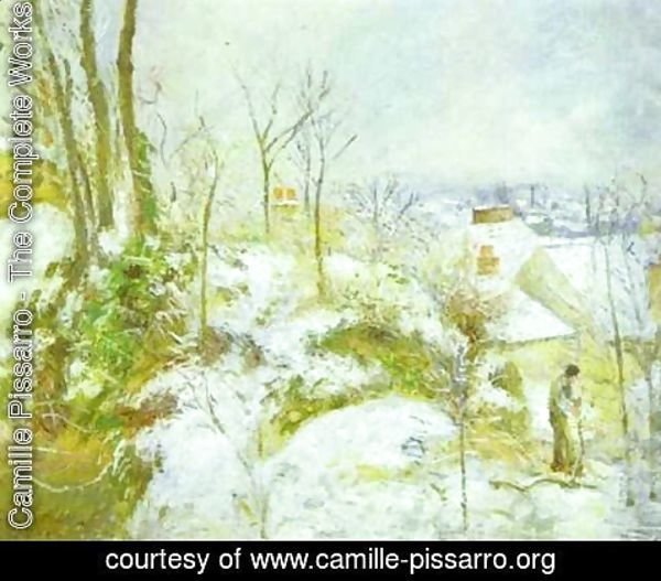 Camille Pissarro - Cottage at Pontoise in the Snow