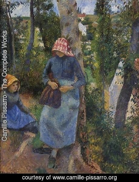Camille Pissarro - Two Young Peasants Chatting under the Trees