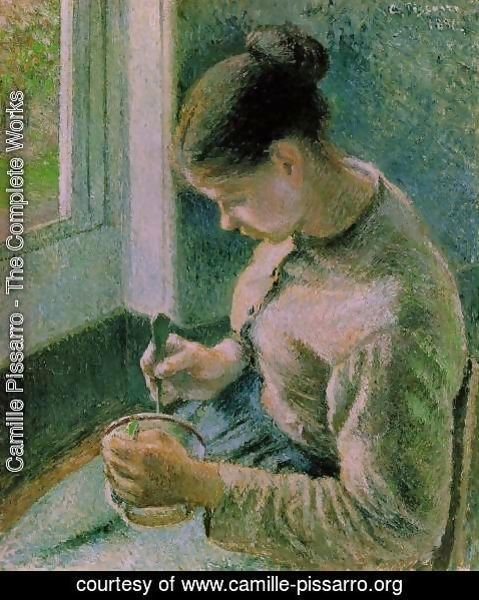 Camille Pissarro - Breakfast, Young Peasant Woman Taking Her Coffee
