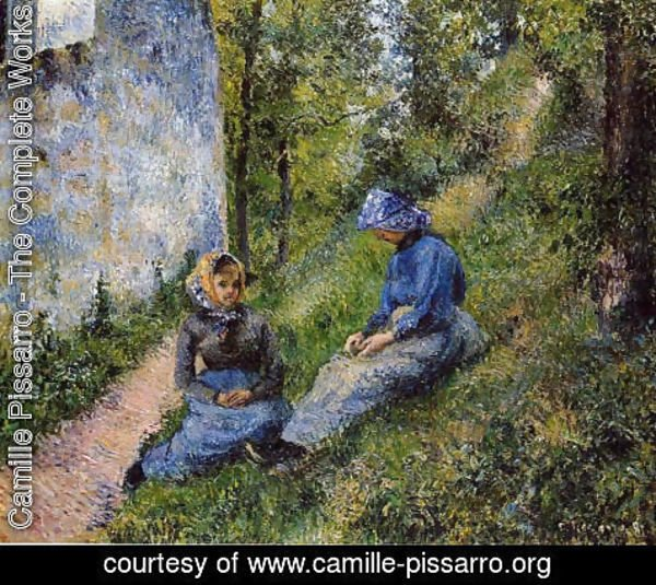 Camille Pissarro - Seated Peasants, Sewing