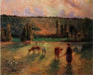 Camille Pissarro - Cowherd at Eragny