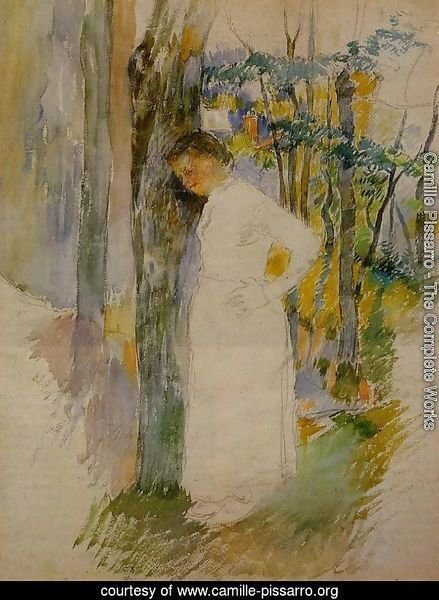 Peasant Woman Standing next to a Tree