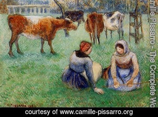 Camille Pissarro - Seated Peasants Watching Cows