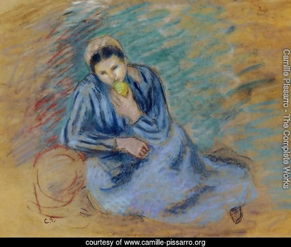 Seated Peasant Woman Crunching an Apple