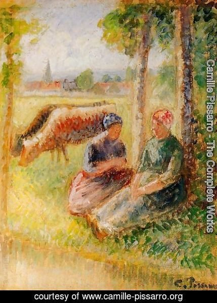 Camille Pissarro - Two Cowherds by the River