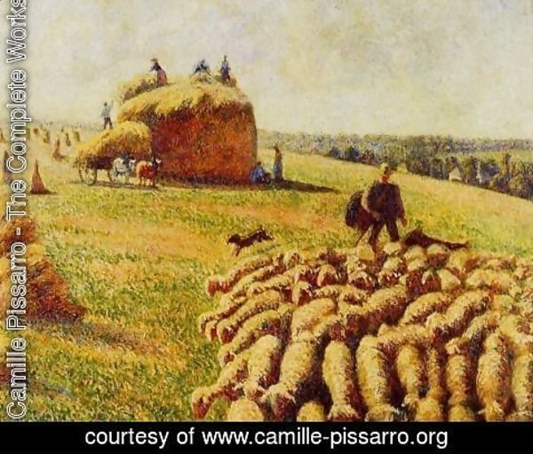 Camille Pissarro - Flock of Sheep in a Field after the Harvest