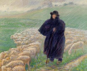 Shepherd in a Downpour