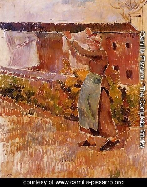 Camille Pissarro - Women Tending the Laundry (study)