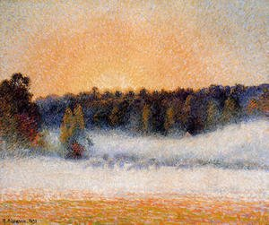 Camille Pissarro - Setting Sun and Fog, Eragny