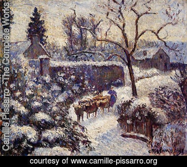 Camille Pissarro - The Effect of Snow at Montfoucault