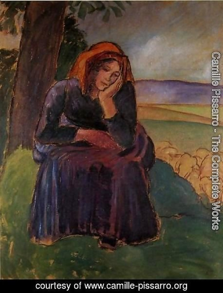 Camille Pissarro - Seated Shepherdess