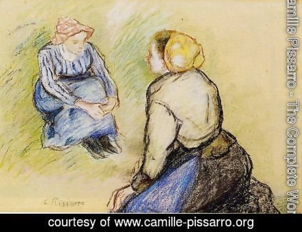 Camille Pissarro - Seated Peasant and Knitting Peasant