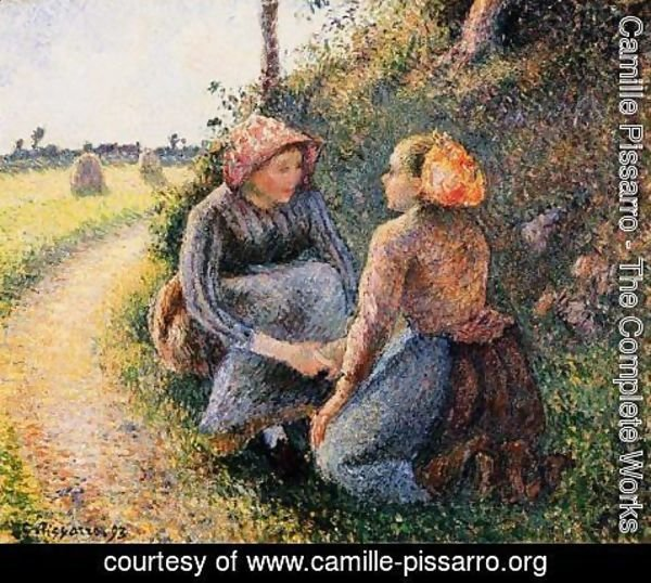 Camille Pissarro - Seated and Kneeling Peasants