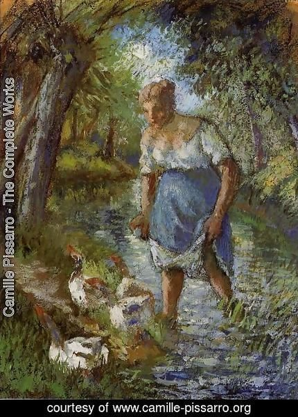 Camille Pissarro - Peasant Crossing a Stream