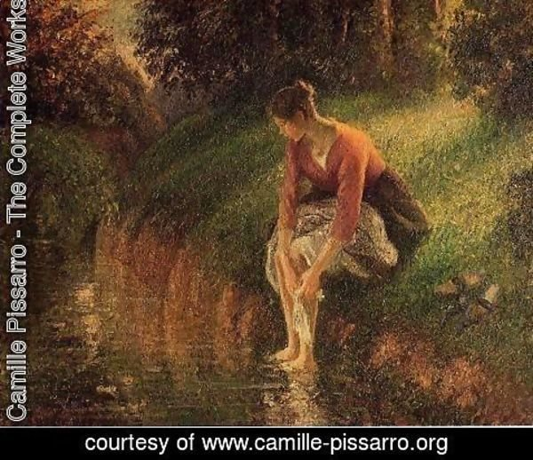 Camille Pissarro - Young Woman Bathing Her Feet