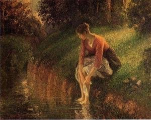 Young Woman Bathing Her Feet