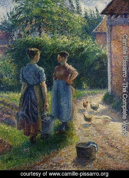 Camille Pissarro - Peasants Chatting in the Farmyard, Eragny