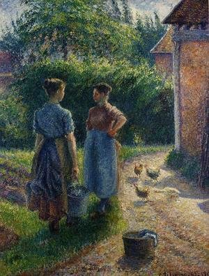 Peasants Chatting in the Farmyard, Eragny
