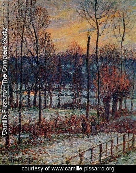 Camille Pissarro - The Effect of Snow, Sunset, Eragny
