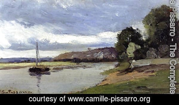 Camille Pissarro - Banks of a River with Barge