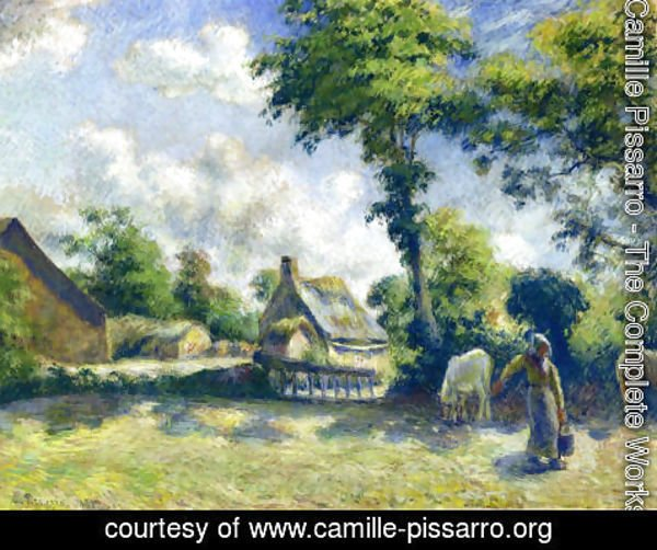 Camille Pissarro - Landscape at Melleray, Woman Carrying Water to Horses